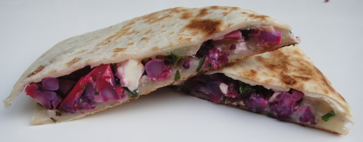 Purple Cauliflower, Kale and Feta Quesadillas - Vegetal Matters