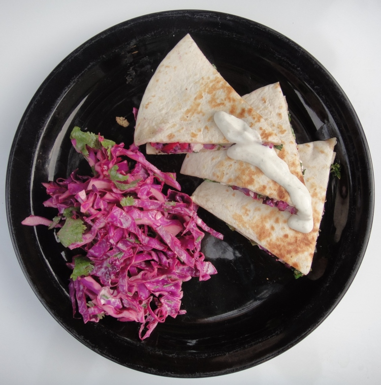 Purple Cauliflower, Kale and Feta Quesadillas - Vegetal Matters