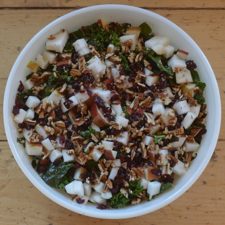 Kale salad with apples, dried cranberries, and pecans - Vegetal Matters