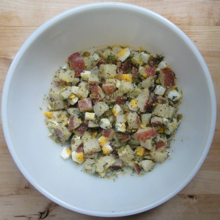 Mustard Potato Salad with Pickled Garlic Scapes - Vegetal Matters
