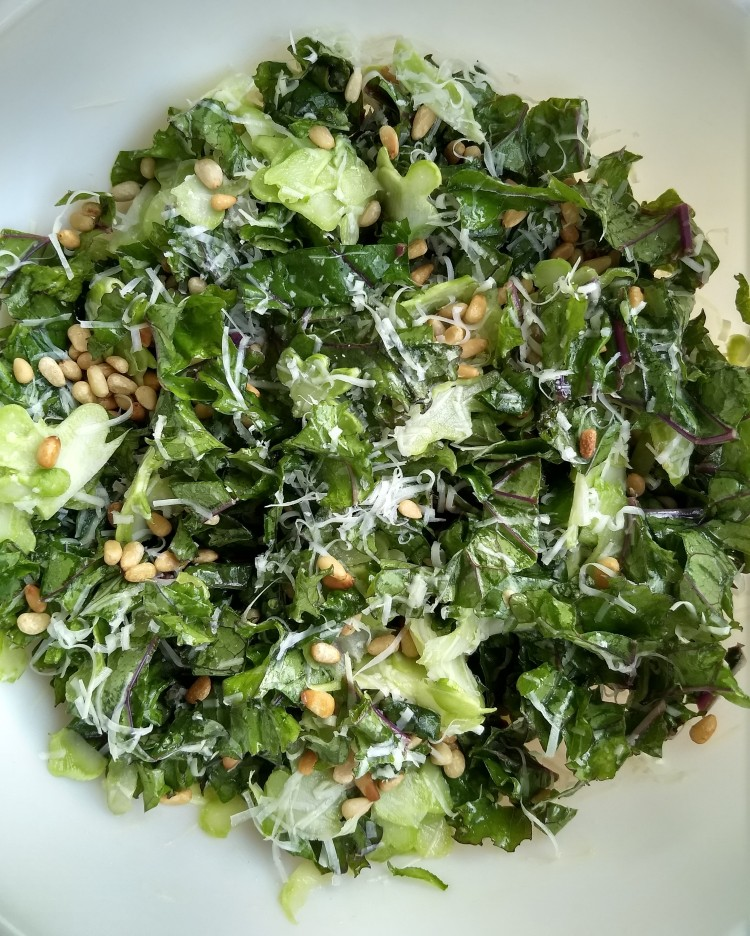 kale and broccoli stem salad